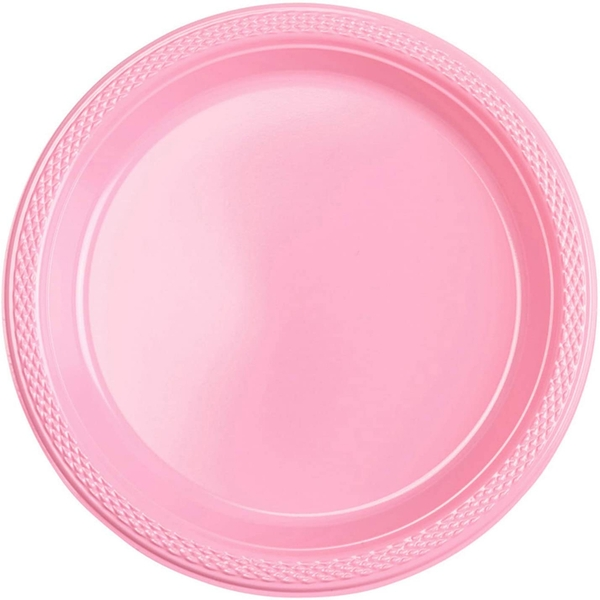 Baby Dinner Plastic Plates Pink (Pack Of 10)