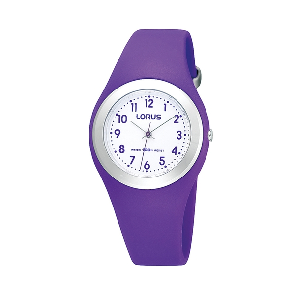 Lorus R2305GX9 Youths Soft Purple Polyurethane Strap Watch with Stainless Steel Bezel
