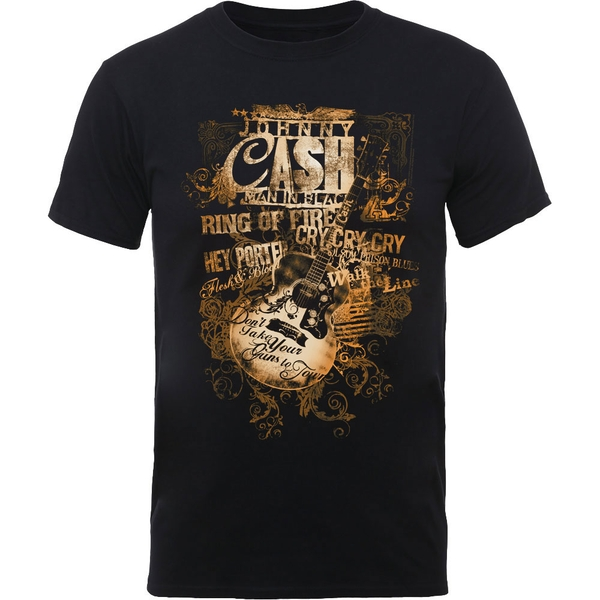 Johnny Cash - Guitar Song Titles Men's Medium T-Shirt - Black