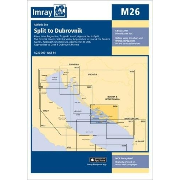 Imray Chart M26 Split to Dubrovnik Sheet map, folded 2017