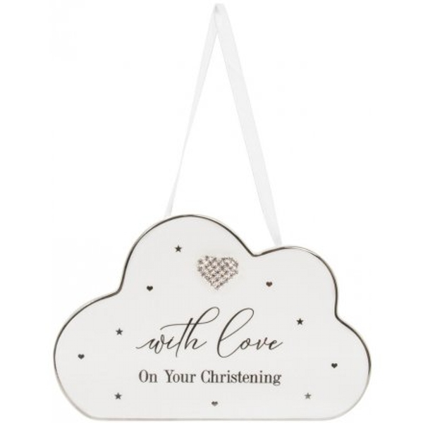 Christening Plaque With Diamante Heart Mad Dots