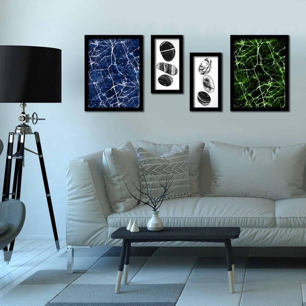 4P3040SCT004 Multicolor Decorative Framed MDF Painting (4 Pieces)