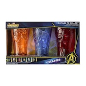 Set of 3 Avengers Infinity War 420ml Glasses (Captain America, Iron Spider and Iron Man)