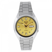Seiko 5 Mens Automatic Watch - Silver with Gold Face