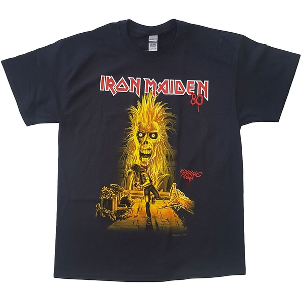 Iron Maiden - Running Free Unisex Large T-Shirt - Black
