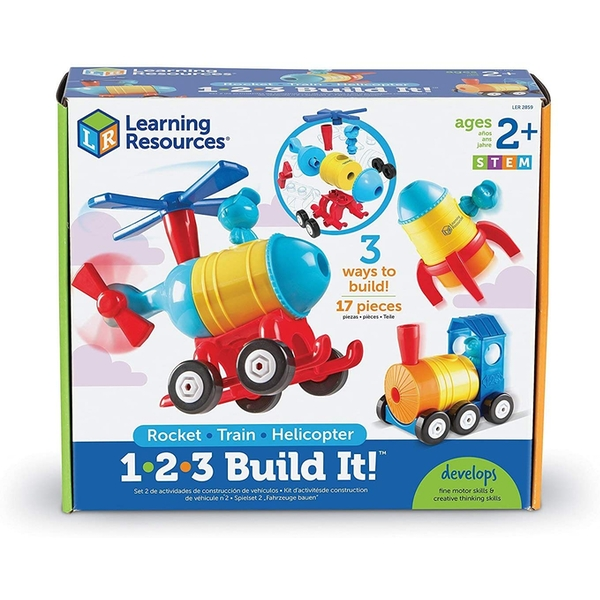Learning Resources 1-2-3 Build It (Rocket/Train/Helicopter)