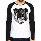 Suicide Squad 'Group Shot' Men's Large Baseball Shirt - White