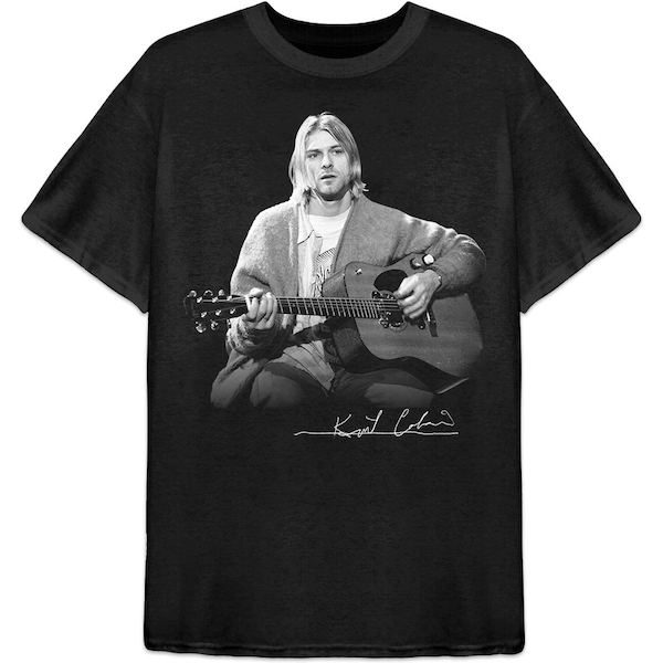 Kurt Cobain - Guitar Live Photo Men's X-Large T-Shirt - Black