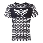 Nintendo - Royal Crest Logo With Tri-Force Checker Pattern Men's X-Large T-Shirt - Black/White