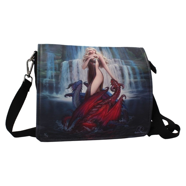 Dragon Bathers Embossed Shoulder Bag