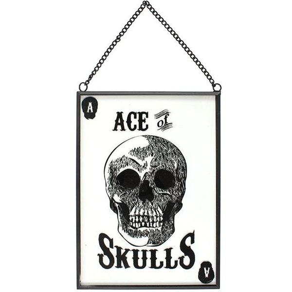 Glass Ace Of Skulls Hanging Sign
