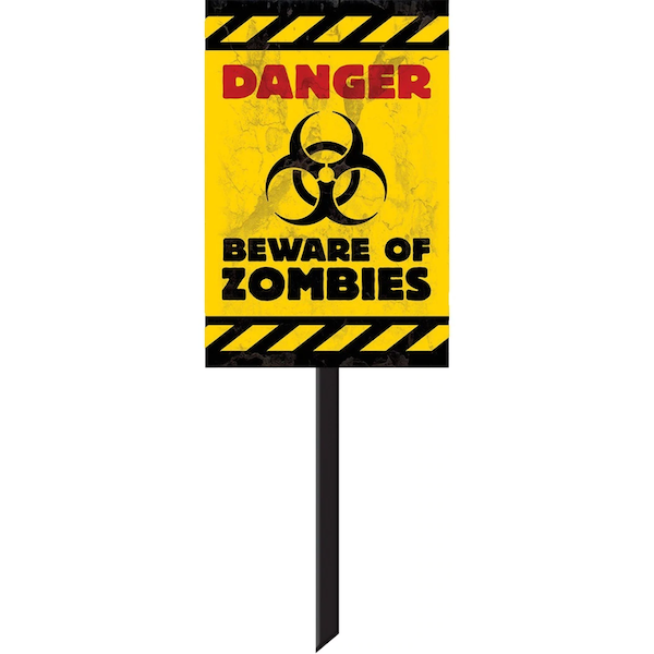 Danger Beware of Zombies Plastic Lawn Sign