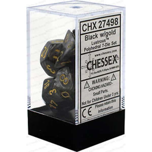 Chessex Poly 7 Dice Set: Lustrous Black/gold
