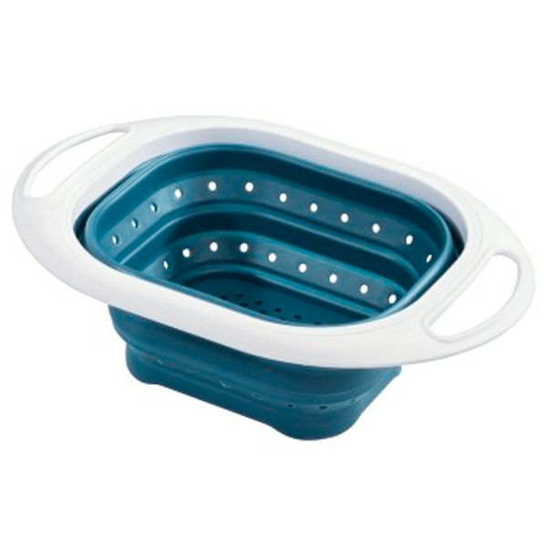 xavax Collapsible Silicone Kitchen Strainer, Petrol