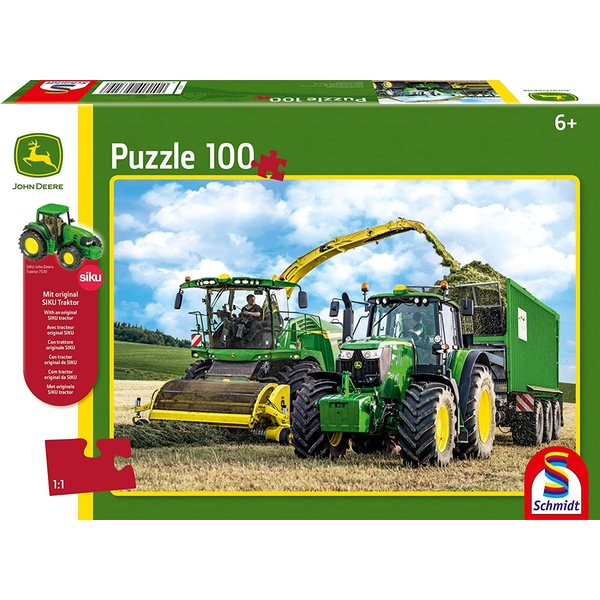 John Deere: 649M Tractor with 8500i Harvester 100 Piece Jigsaw Puzzle With SIKU model