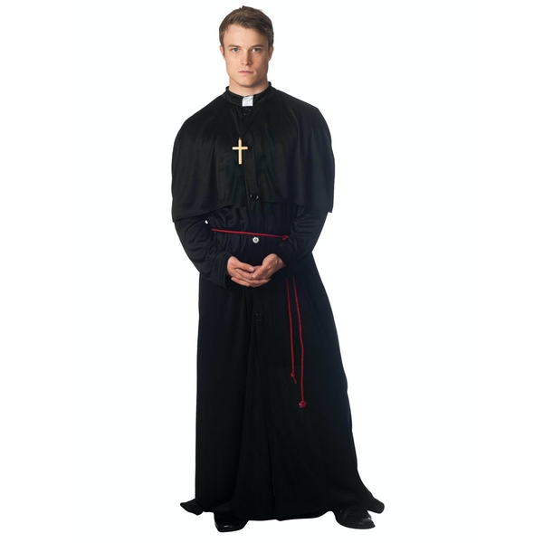 Christy's Adults Black Holy Priest Costume With Cross Necklace and Belt (Size M/L)
