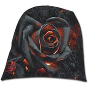 Burnt Rose Unisex Light Cotton Beanies - Black (One Size)