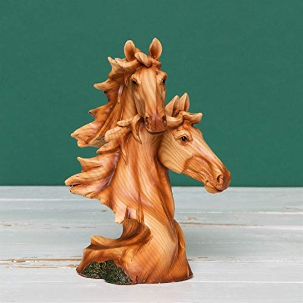 Naturecraft Wood Effect Resin Figurine - Two Horse Heads
