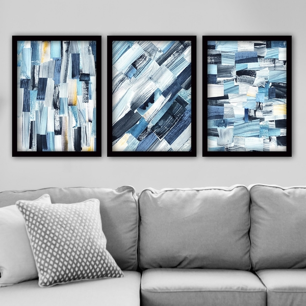 3SC30 Multicolor Decorative Framed Painting (3 Pieces)