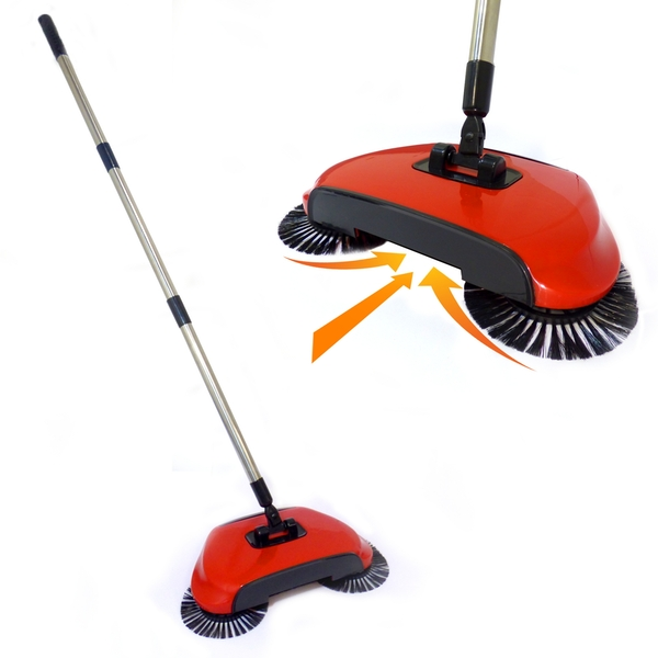 Automatic Spin Sweeper 3 in 1 Floor Sweeping Brush Broom, Duster & Dustpan M&W - Image 1
