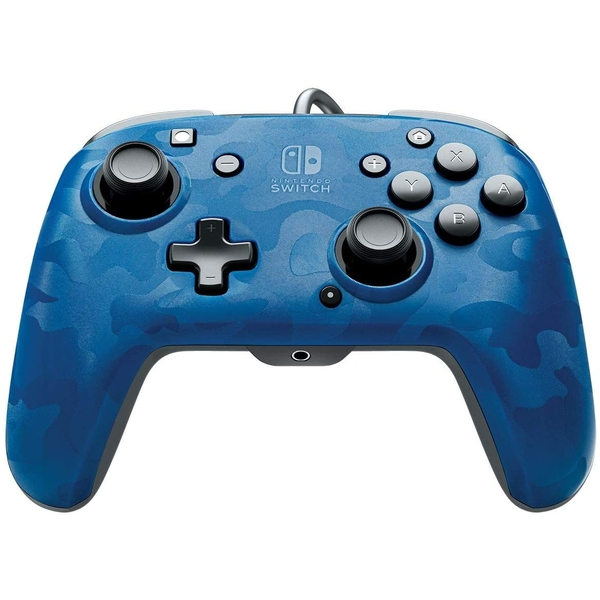 PDP Face off Deluxe Switch Controller and Audio (Camo Blue) for Nintendo Switch [Damaged Packaging]