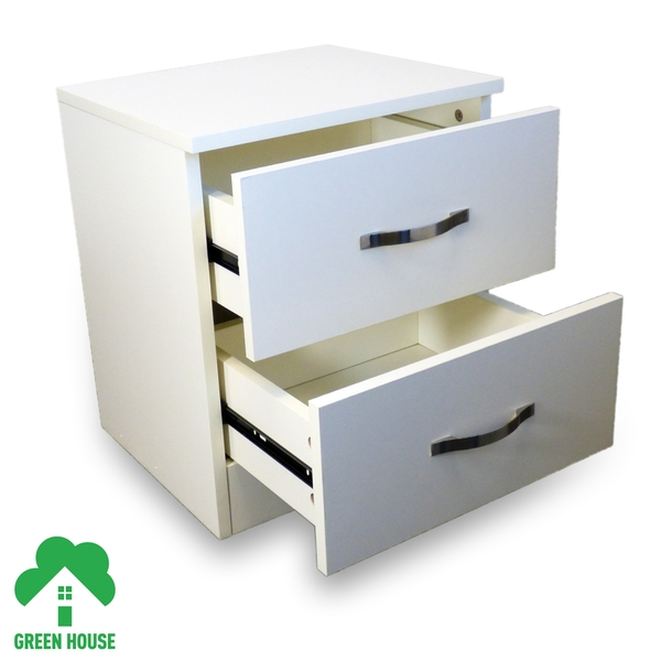 2 Chest Of Drawers White Bedside Cabinet Dressing Table Bedroom Furniture Wooden Green House - Image 3