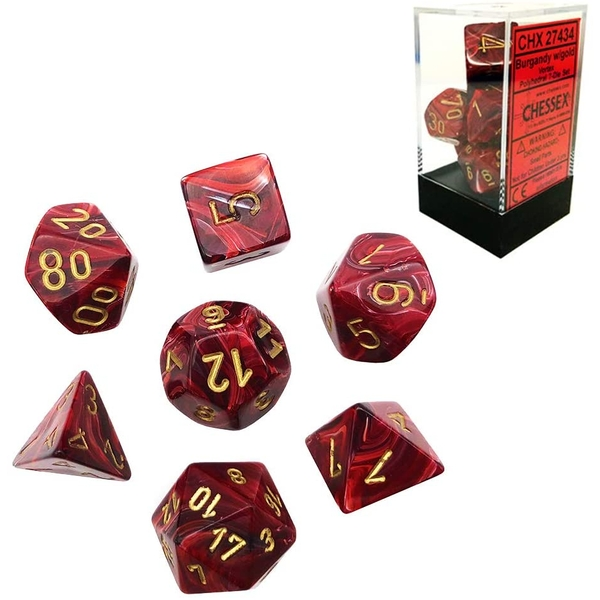 Chessex Poly 7 Set: Vortex Burgundy/gold