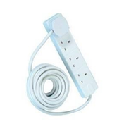 4 Gang White Power Extension 5m Cable UK Plug