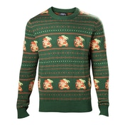 Nintendo Legend of Zelda - Pixel Link Men's X-Large Christmas Jumper - Green