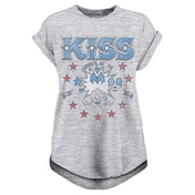 Kiss - Spirit Of 76 Women's Large Rolled Sleeve T-Shirt - Grey