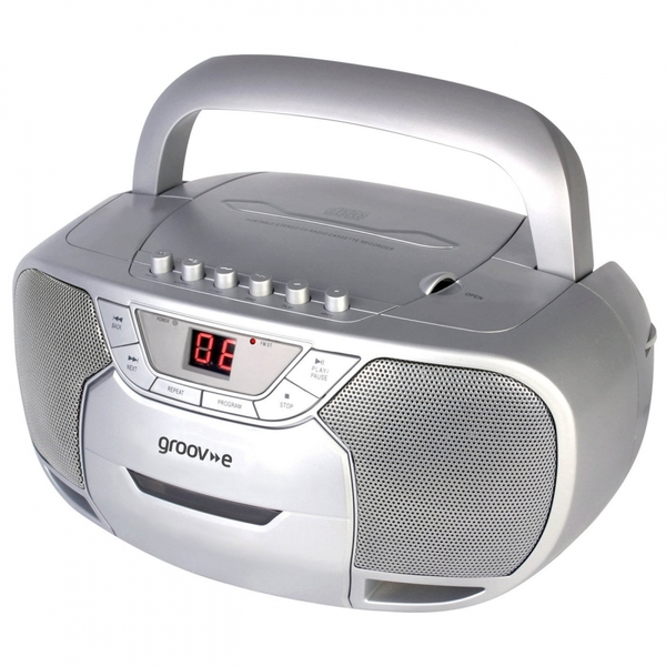 Groov-e GVPS823SR  Classic Boombox Portable CD & Cassette Player with Radio Silver UK Plug