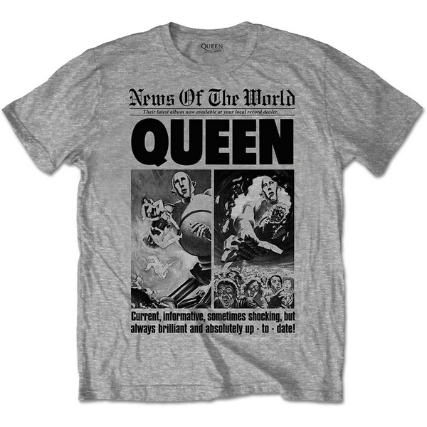 Queen - News of the World 40th Front Page Unisex Small T-Shirt - Grey