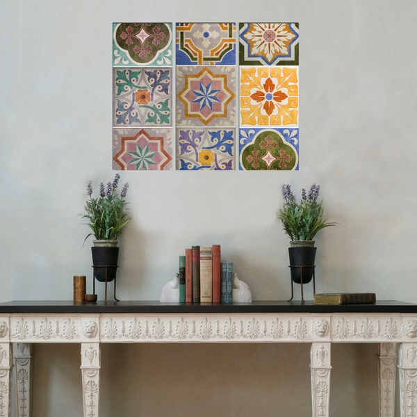 BME005 Multicolor Decorative Framed MDF Painting (3 Pieces)