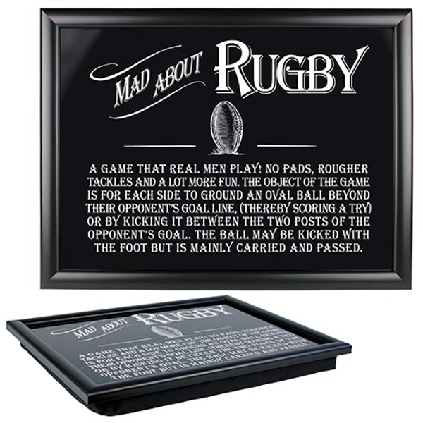 Ultimate Gift for Man Lap Trays Rugby