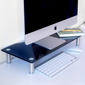 Adjustable Glass Monitor Stand Non-Slip Feet | M&W Black Large