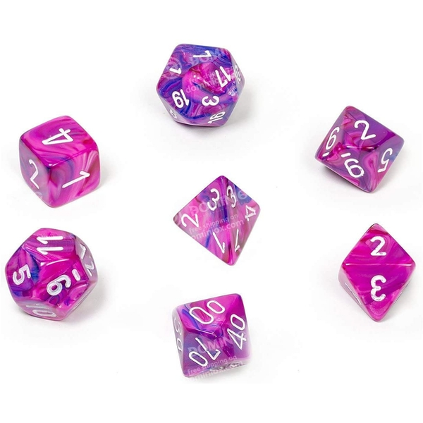 Chessex Poly 7 Set: Festive Violet & white
