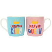 Set of 2 Caravan King and Queen Mugs