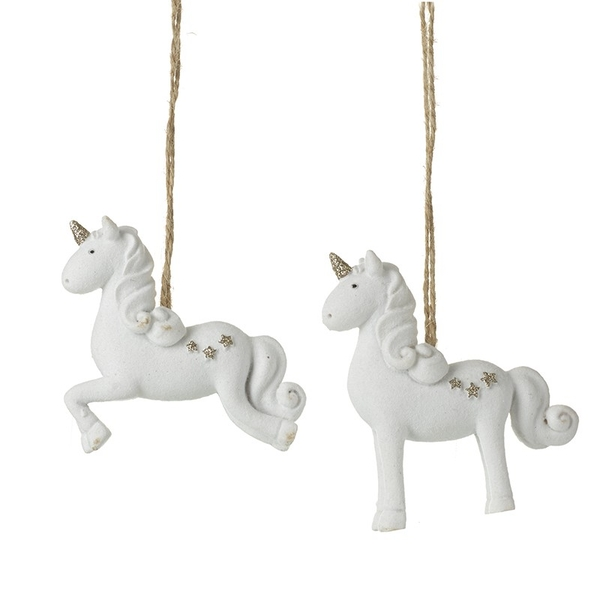 Hanging Resin Unicorn Decoration by Heaven Sends (Set of 2)