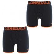Lonsdale 2 Pack Mens Boxers Navy & Orange Large