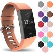 YouSave Silicone Strap - Large - Peach compatible with Fitbit Charge 3