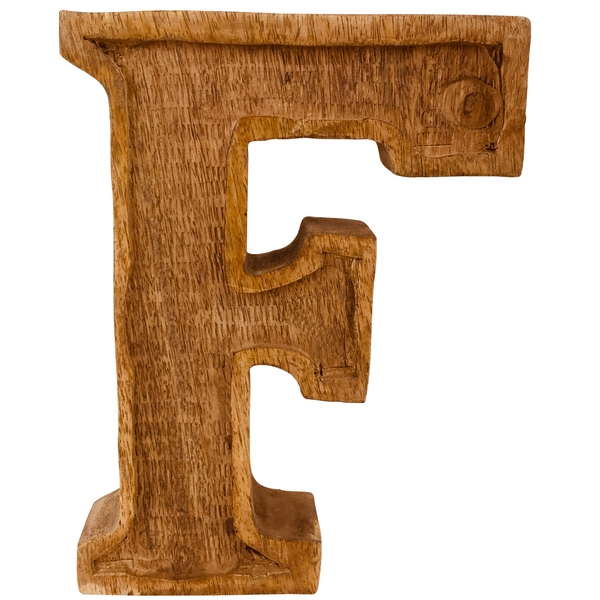 Letter F Hand Carved Wooden Embossed