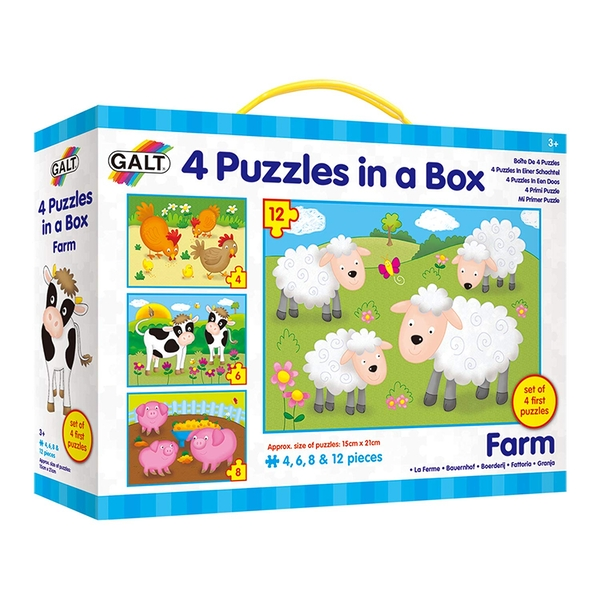 Galt Toys - 4 Farm Jigsaw Puzzles in a Box - Image 1