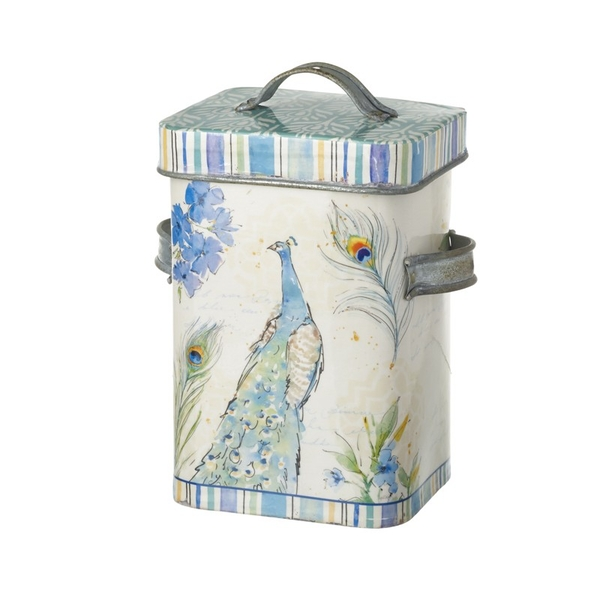 Peacock Metal Canister By Heaven Sends