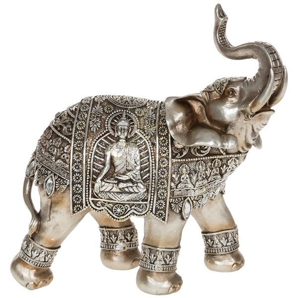 Silver Buddha Elephant Trunk Up Ornament