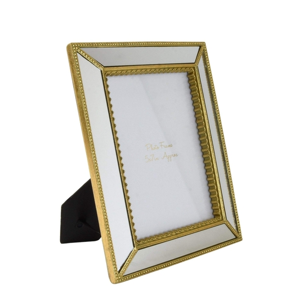 Ornate Photo Frame with Mirrored Panels and Gold Edging 5 x 7""