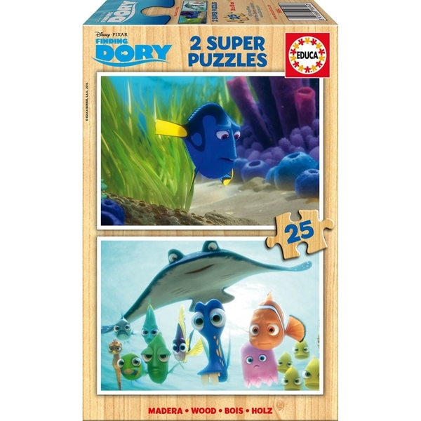 Disney Finding Dory 2 Super Dory & Where's Dory 25 Piece Wooden Jigsaw Puzzles