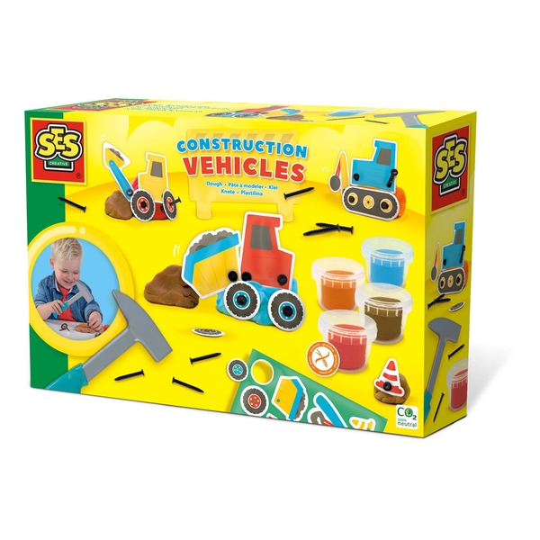 SES Creative Children's Modelling Dough Construction Vehicles Activity Set