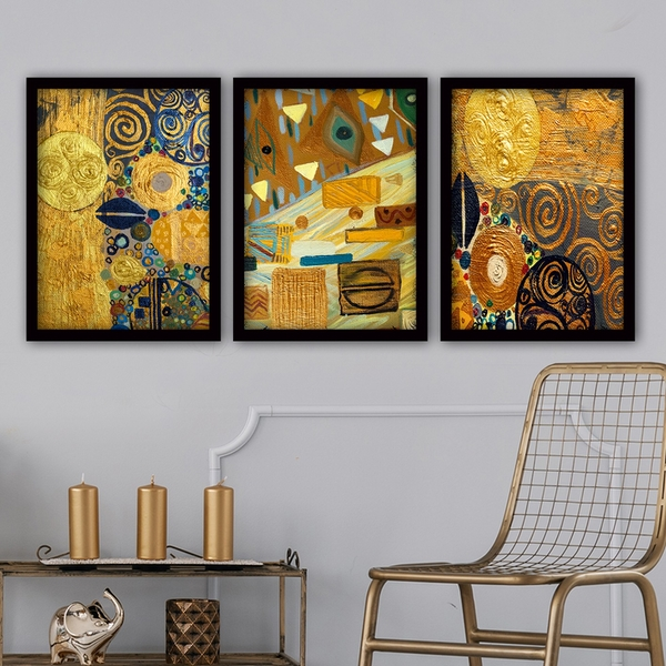 3SC154 Multicolor Decorative Framed Painting (3 Pieces)