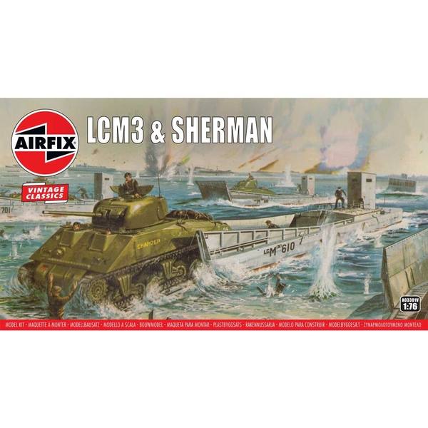 LCM3 & Sherman 1:76 Vintage Classic Military Air Fix Model Kit