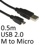 USB 2.0 A (M) to USB 2.0 Micro B (M) 0.5m Black OEM Data Cable